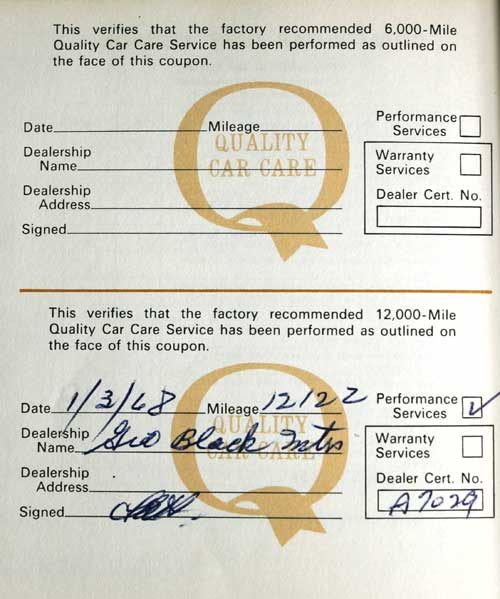 1967 cougar owner manual service record