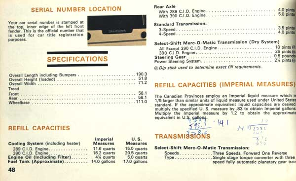 1967 cougar owner manual spec page gas log