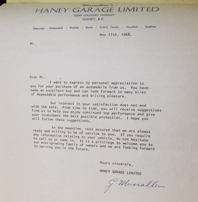 68 firebird 400 ho haney letter of sale
