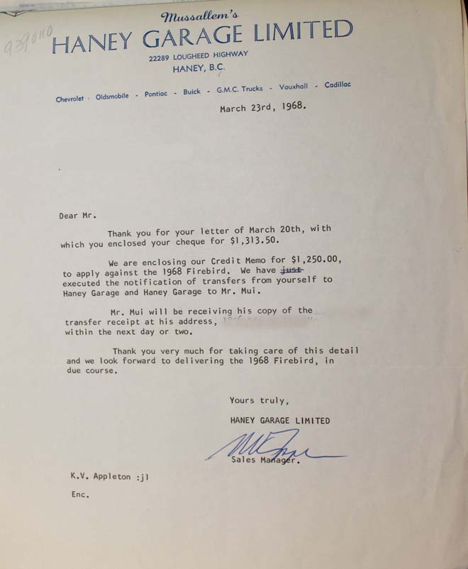 68 firebird 400 ho haney letter