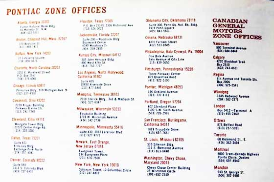 68 pontiac dealer zone offices owner manual list