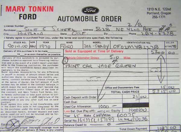 70 ford mustang shelby gt500 tonkin purchase agreement