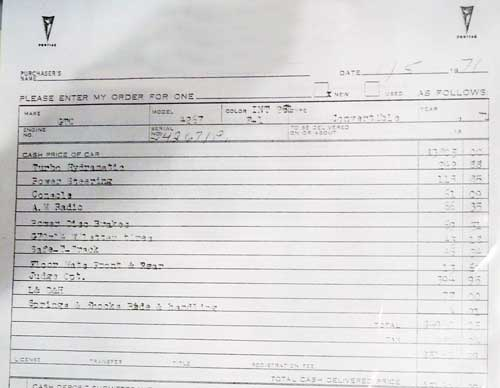 71 gto judge convertible lucerne dealer invoice