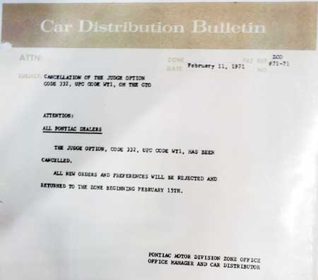 71 gto judge option cancelation announcement