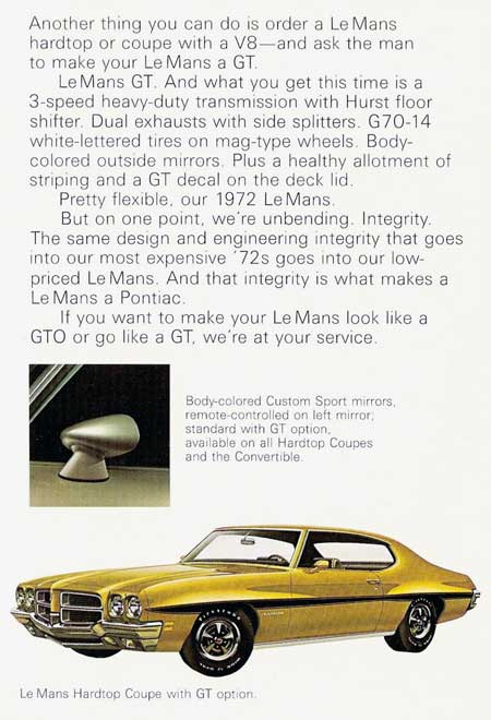 72 Lemans GT from pontiac brochure