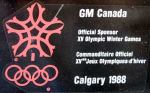 factory sticker gm calgary 88 olympics