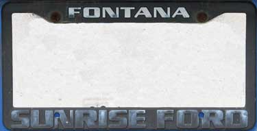 dealer sunrise ford fontana ca license frame