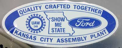 factory ford final assembly kansas union sticker