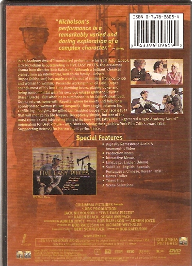 five easy pieces dvd back